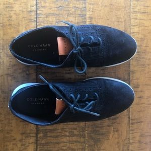 Women Cole Haan Grand OS wingtip black suede shoes